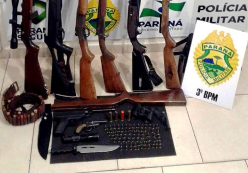 Polícia Militar apreende oito armas de fogo no interior de Mariópolis