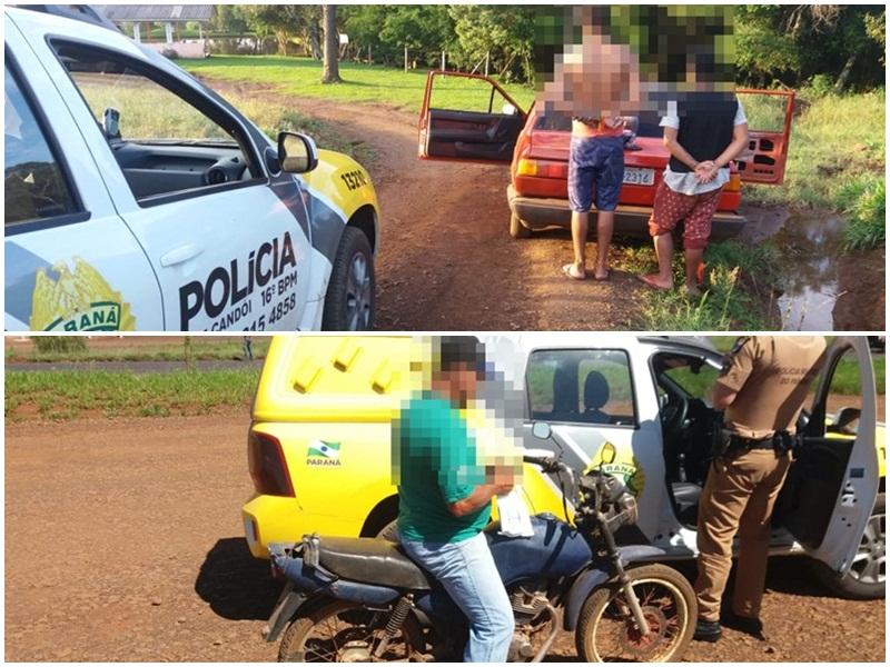 """PM apreende carro e moto durante operação """"Saturação"""" em Candói"""