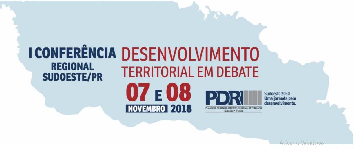 Dias 7 e 8 de Novembro acontece a I Conferência Regional Sudoeste