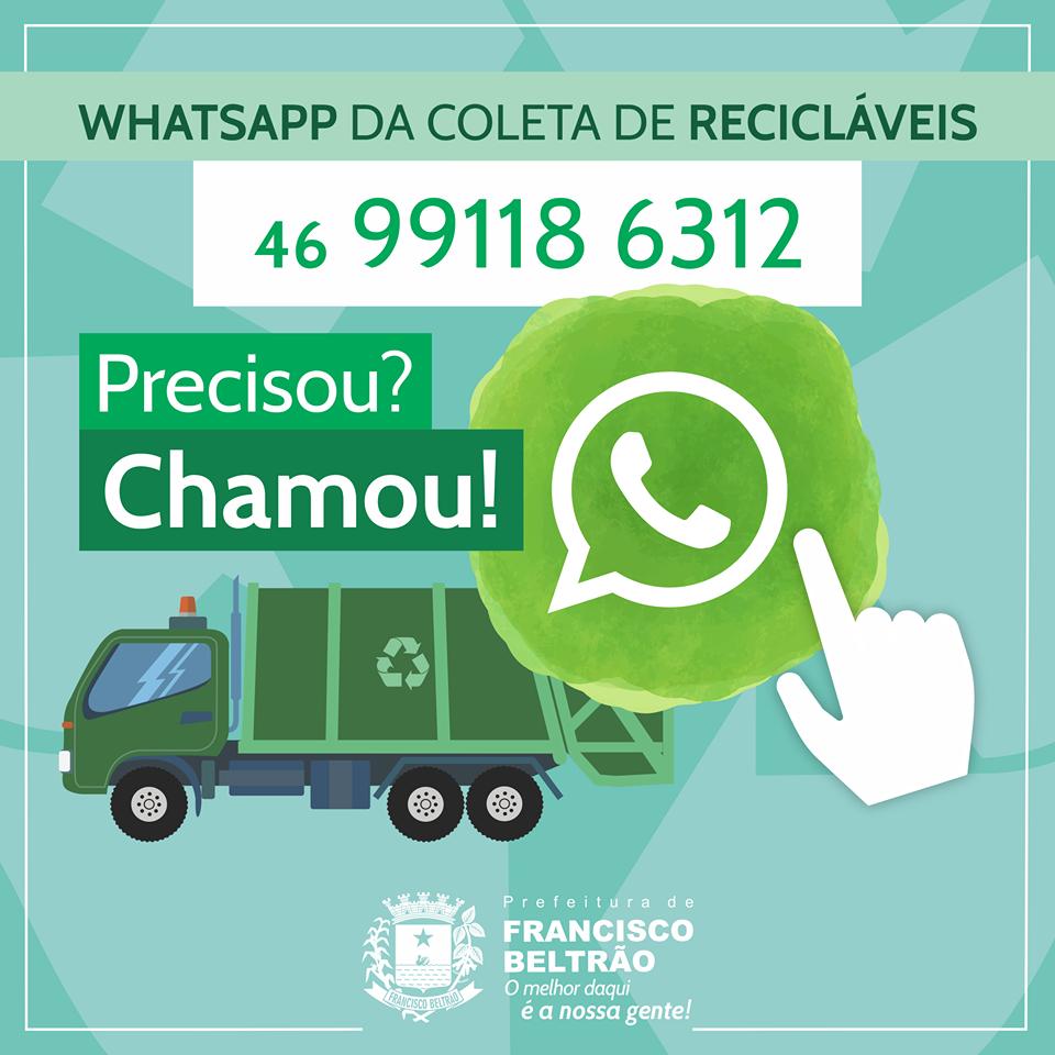 Agilidade na comunicação: coleta seletiva possui WhatsApp
