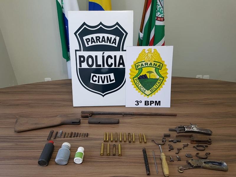 Polícia cumpre mandados em fábrica clandestina de armas, em Coronel Vivida