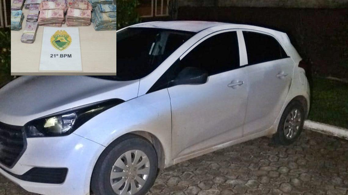 Polícia Militar recupera carro roubado e encontra R$ 40 mil escondido