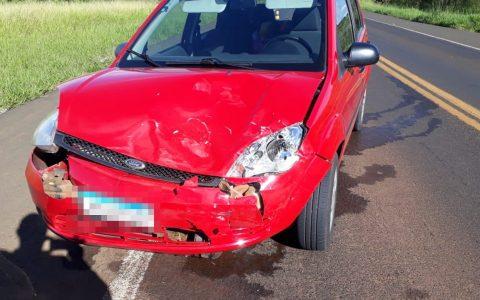 Carro com placa de Chopinzinho se envolve em acidente na BR-373, em Candói