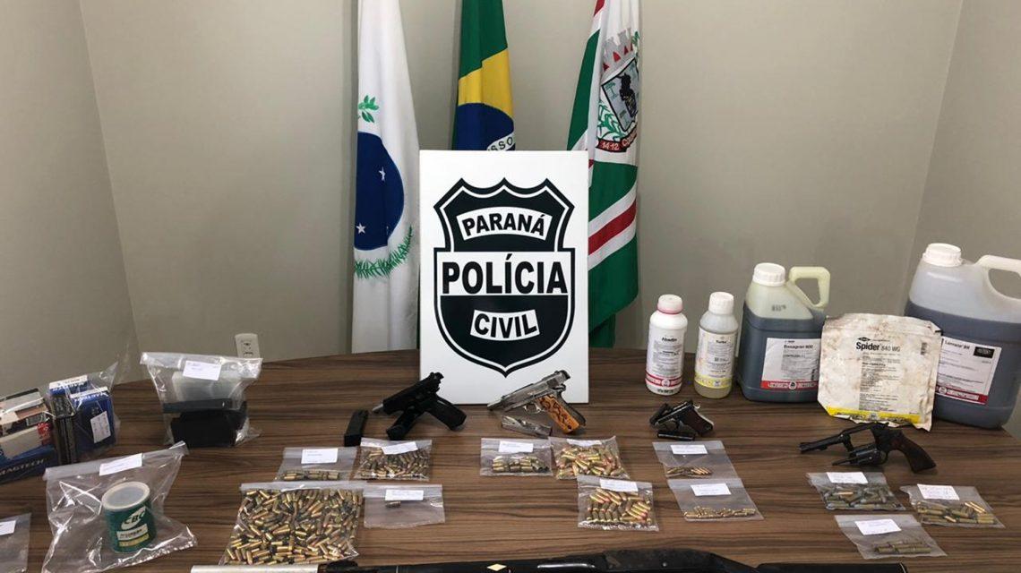 Armas e munições são apreendidas pela Polícia Civil durante operação em Coronel Vivida