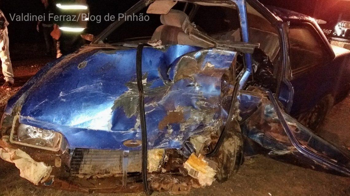 Colisão frontal deixa um morto e quatro feridos na PR-170, em Pinhão