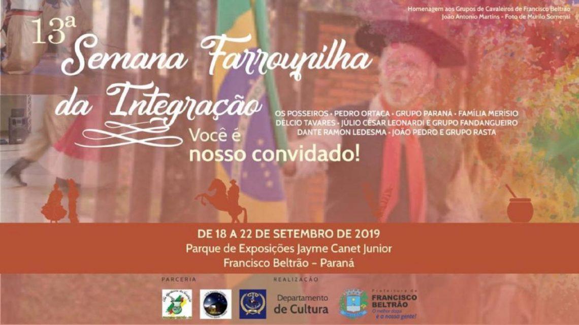 Programação da décima terceira Semana Farroupilha de Francisco Beltrão começa dia 18