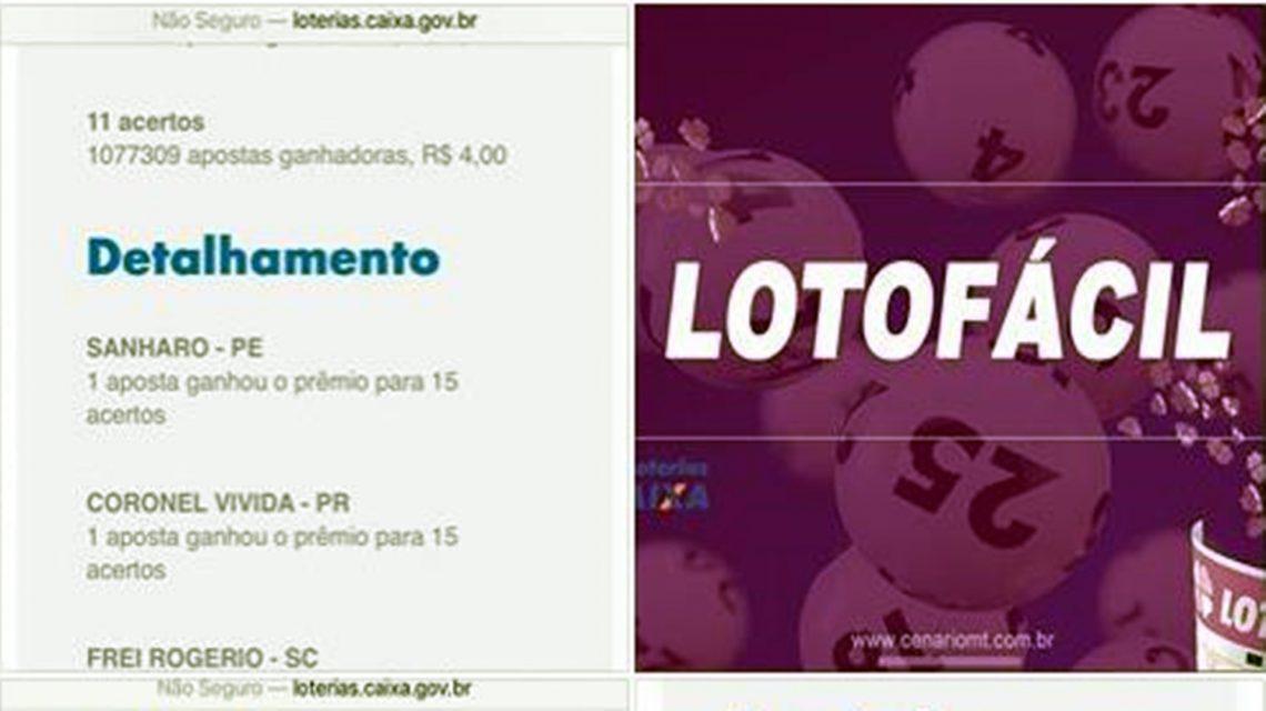 Aposta feita em Coronel Vivida leva prêmio de R$ 766 mil da Lotofácil