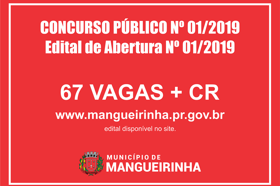 Prefeitura de Mangueirinha prorroga prazo de inscrições para concurso público