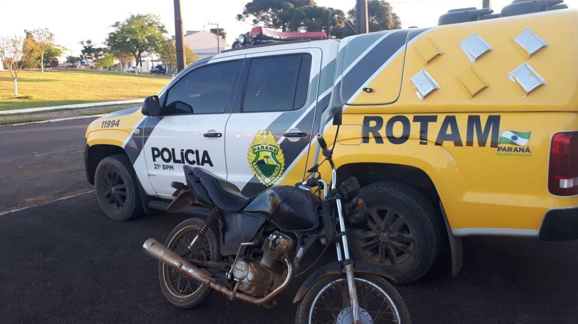 Motocicleta furtada em Guarapuava é recuperada em Coronel Domingues Soares