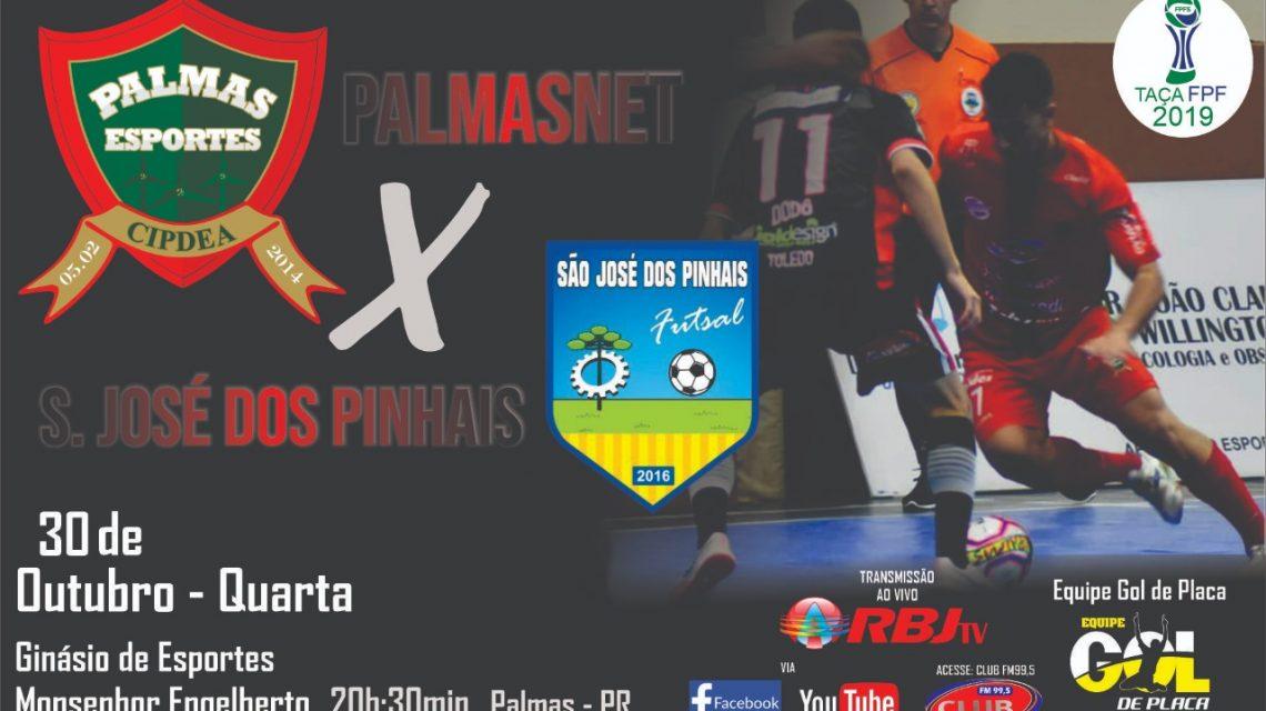 PalmasNet recebe o São José dos Pinhais nesta quarta (30) pela Taça FPFS
