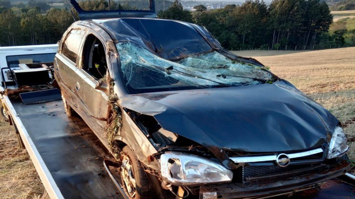 Casal fica ferido em acidente na PR-158, em Coronel Vivida