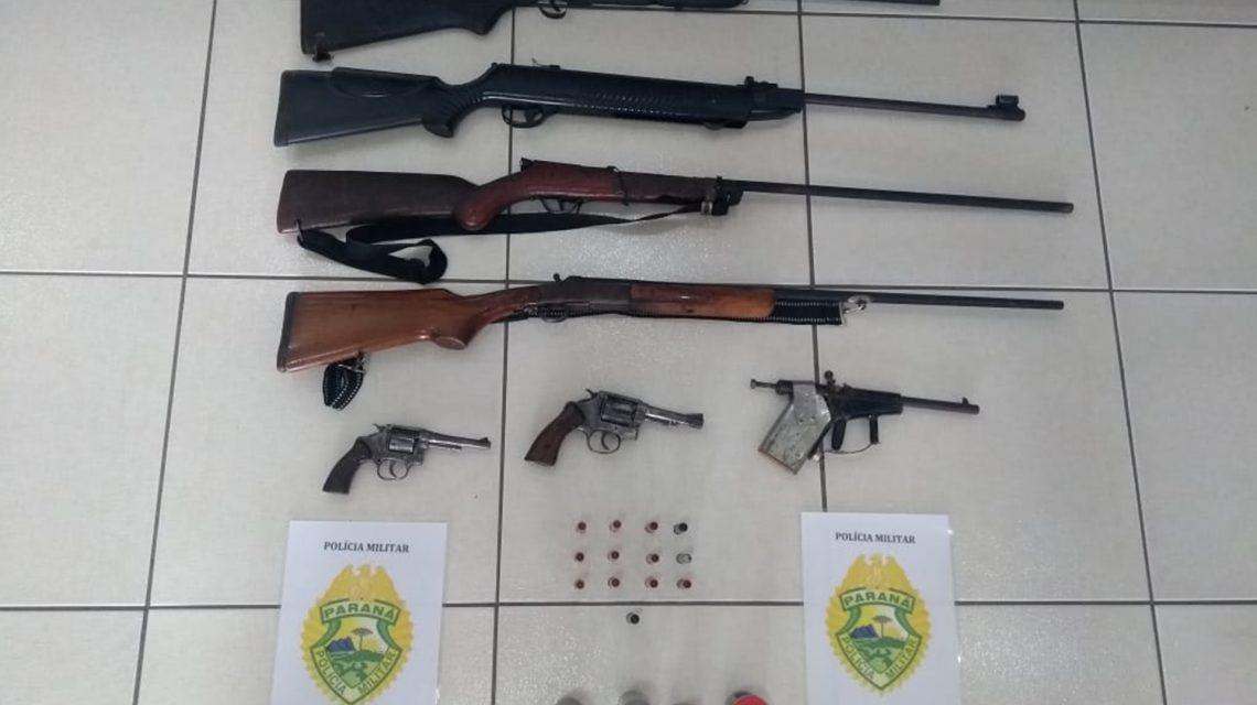 Polícia Militar apreende armas e munições na região da Lagoa Seca, em Candói
