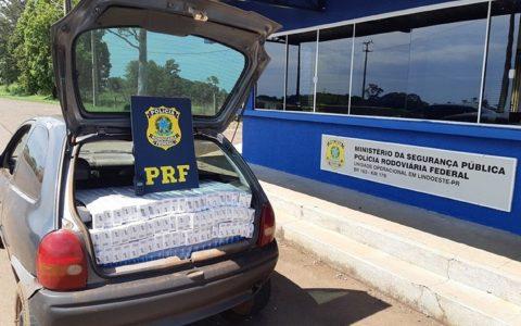 Veículo com placas de Dois Vizinhos é apreendido com cigarros contrabandeados