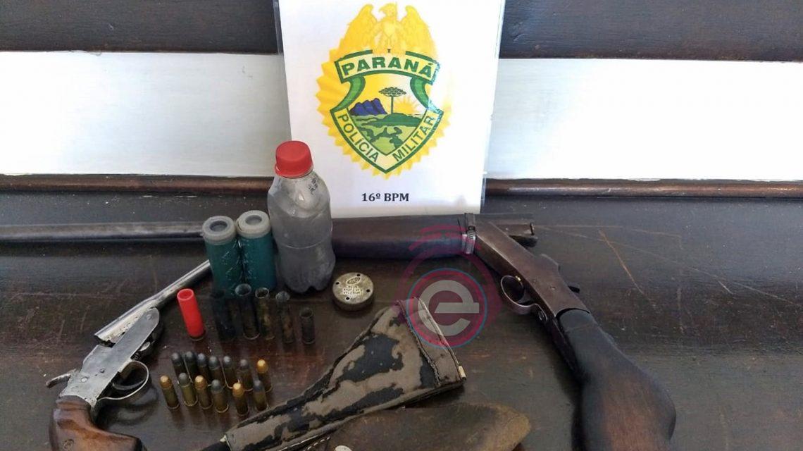 Armas e munições são apreendidas pela Polícia Militar em Candói