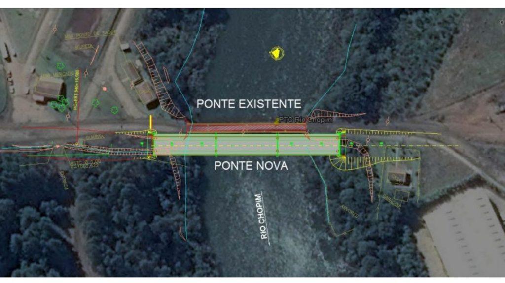 Determinada suspensão das obras da ponte do rio Chopim na PR 912