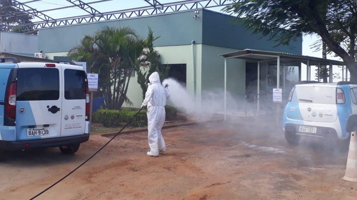 Sanitização de espaços públicos é realizada em Saudade do Iguaçu