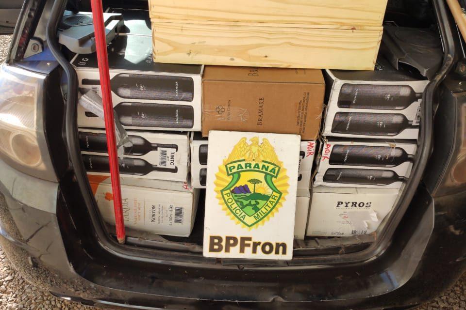 BPRON apreende carro com vinhos contrabandeados da Argentina