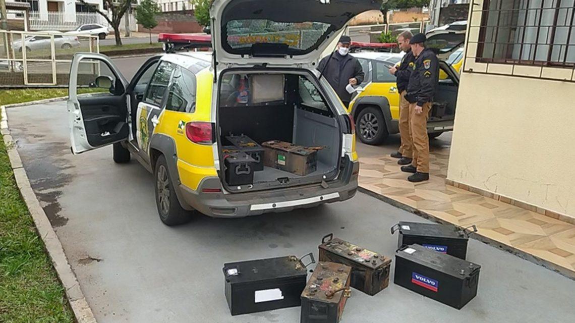 Baterias de caminhão furtadas em Marmeleiro são recuperadas pela Polícia Militar