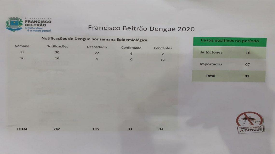 Casos de dengue em Francisco Beltrão saltam para 33