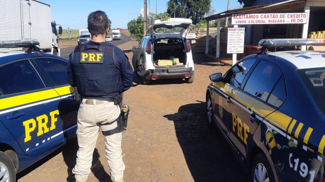 PRF prende traficante, recupera veículo roubado e apreende cerca de 260 kg de maconha em Realeza