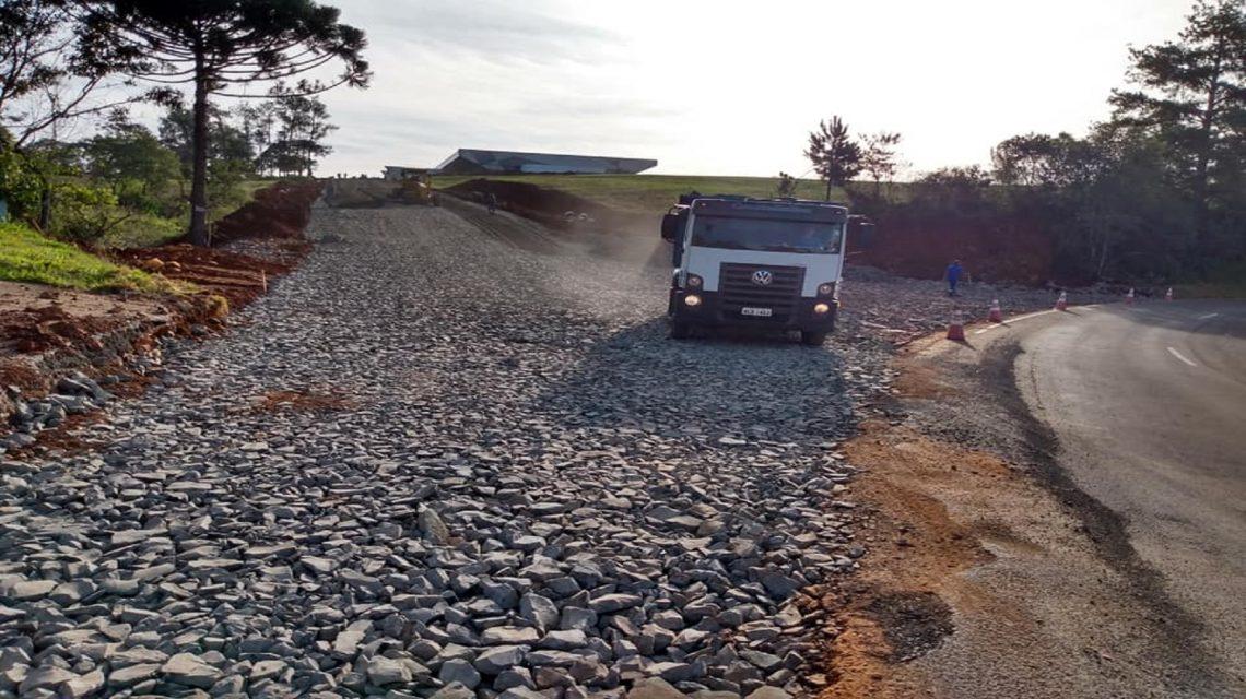 Inicia a pavimentação no acesso à nova rodoviária de Francisco Beltrão
