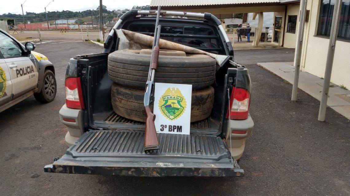 Polícia Militar de Palmas recupera pneus furtados e apreende espingarda