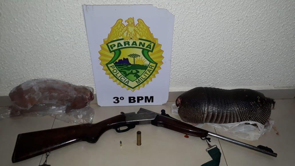 Polícia Militar apreende arma e animais abatidos em Mangueirinha