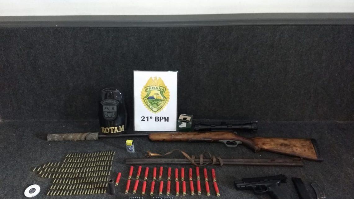 Polícia Militar apreende armas e munições em Francisco Beltrão