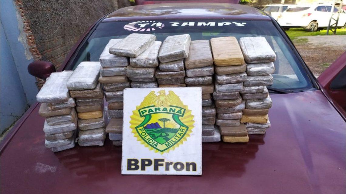 BPFron encontra mais de 40 Kg de maconha dentro de carro abandonado em Barracão