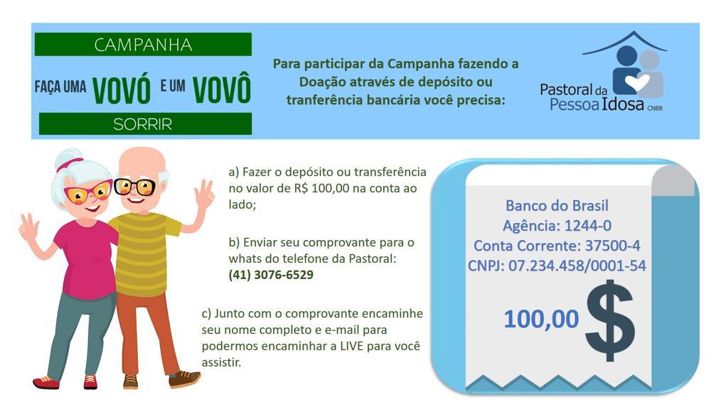 """Pastoral da Pessoa Idosa: campanha """"Faça uma vovó e um vovô sorrir"""""""