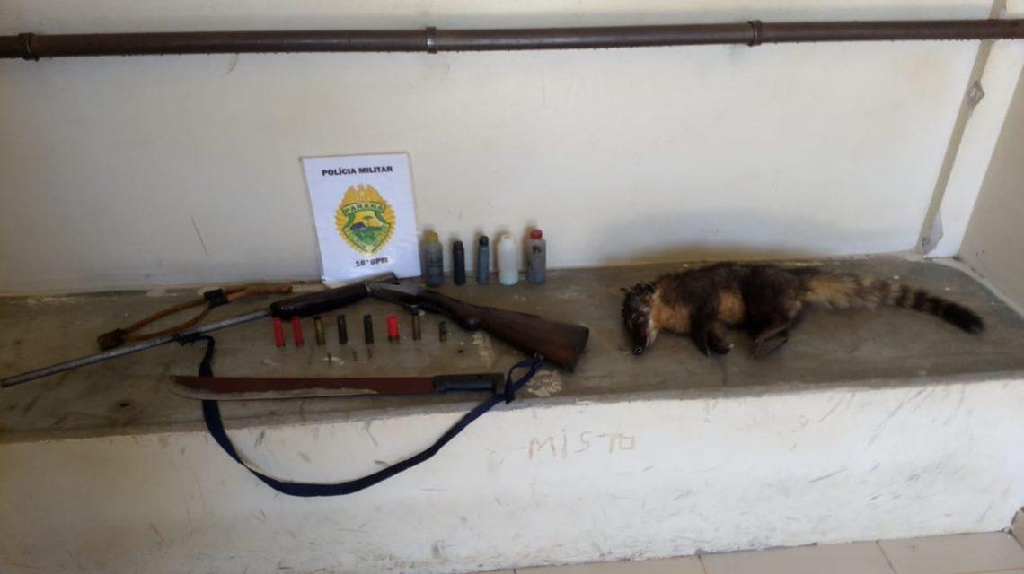 Homem é preso após abater animal silvestre no interior de Candói