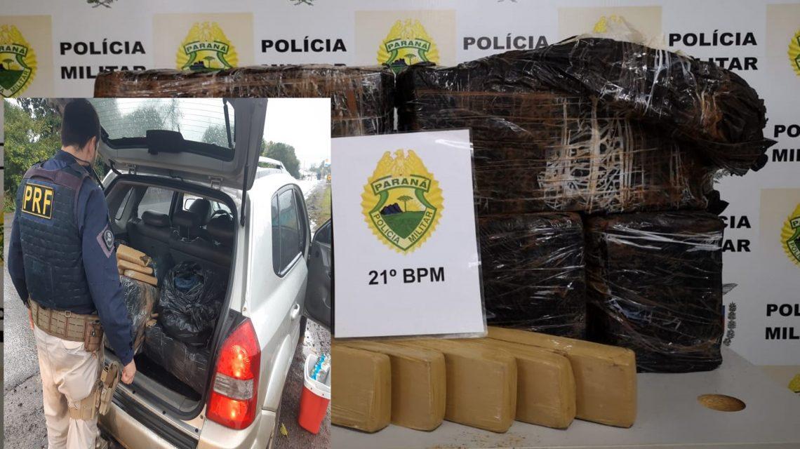 Equipes da PM e PRF fazem apreensões de droga em Realeza