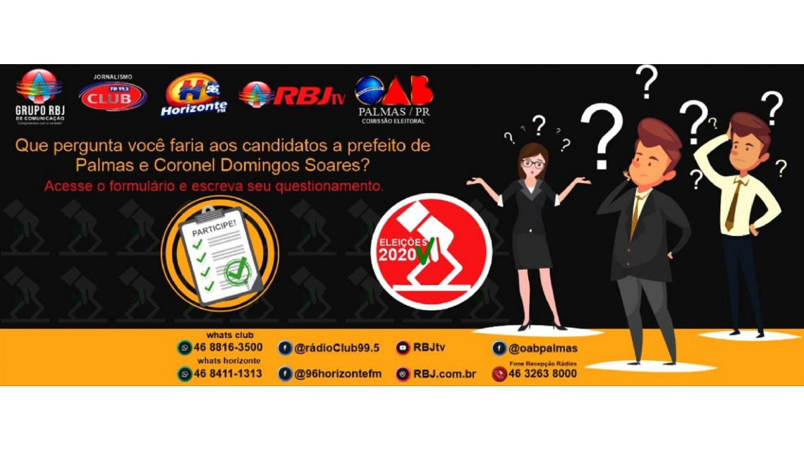 População de Palmas e Cel. Domingos Soares poderá apresentar questionamentos aos candidatos a prefeito