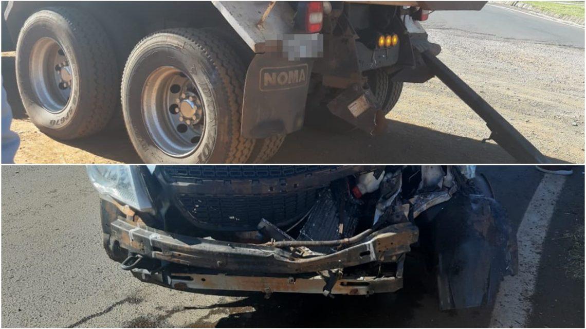 Carro e caminhão se envolvem em acidente no Distrito de Lagoa Seca, em Candói