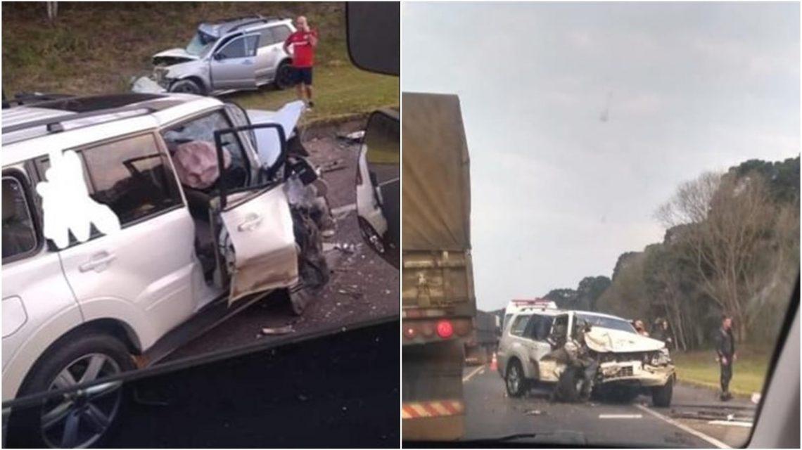 Camionete de Chopinzinho se envolve em grave acidente na BR-277, em Teixeira Soares