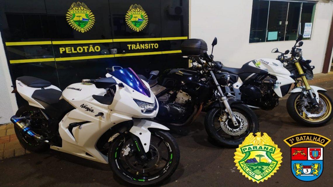 Motocicletas irregulares são apreendidas pela Polícia Militar em Pato Branco
