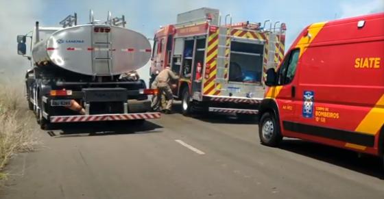 Bombeiros combatem incêndio ambiental em Francisco Beltrão